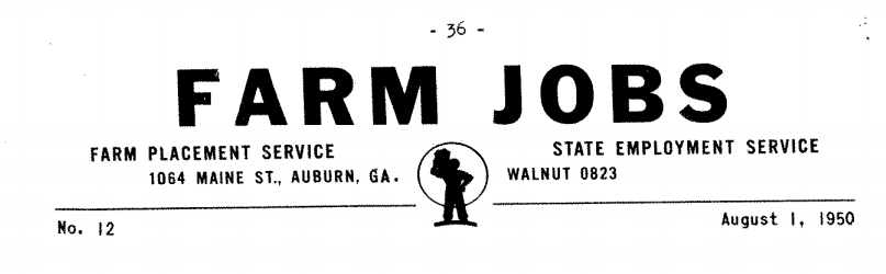 Farm Jobs State Employment Service 1950