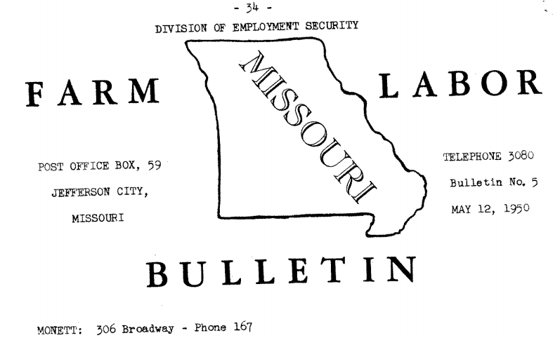 Farm Labor Bulletin Missouri 1950